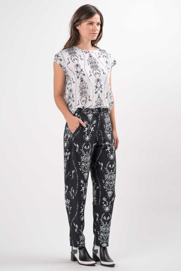 Folk Damask Linen Dakota Top