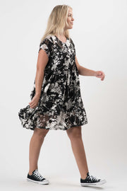 Black and Ivory Chiffon Melinda Short Dress