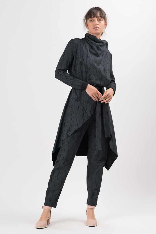 Charcoal Distressed Ponti Sadie Straight Pants