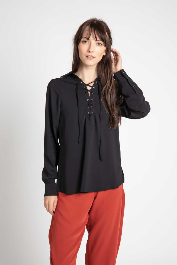 Posey Lace Up Blouse