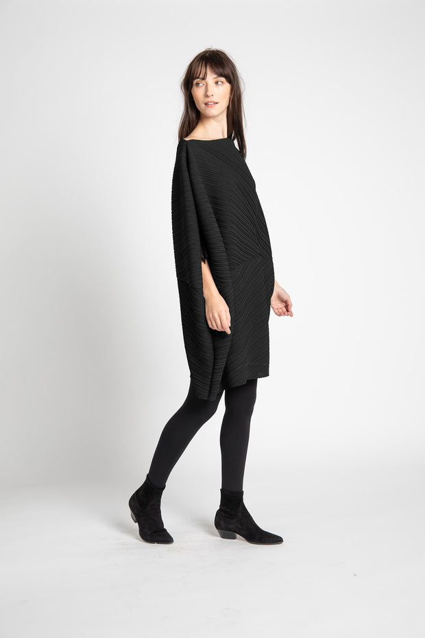 Black Cindy Pleated Tunic