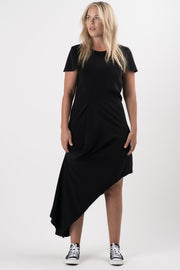 Black Brio Drape Front Dress