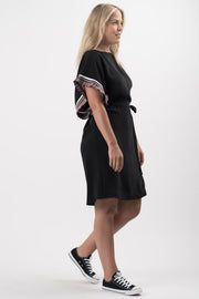 Black Aiden Ruffle Sleeve Dress