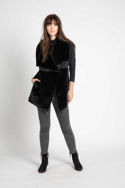Black Shearling Keith Vest