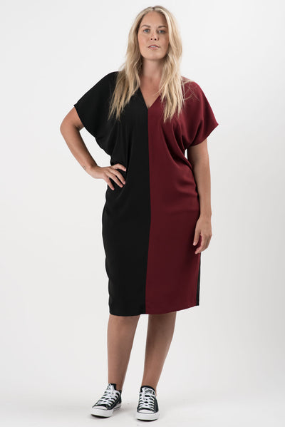 Black and Merlot Rosie Colorblock Dress