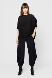 Black Cheryl Origami Pleated Top