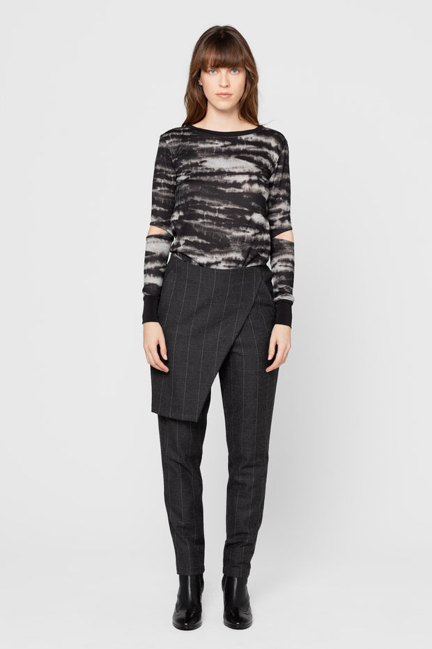 Grey Plaid Axel Straight Leg Pants