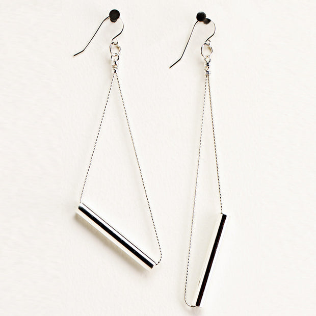 Silver Cylinder Earrings