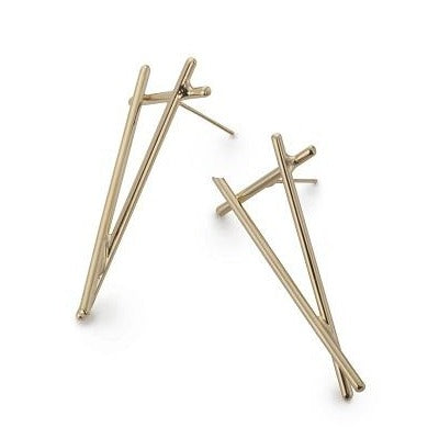 Gold Small Triangle Joint Earrings