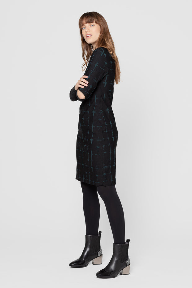 Distressed Check Eldora Fitted Dress