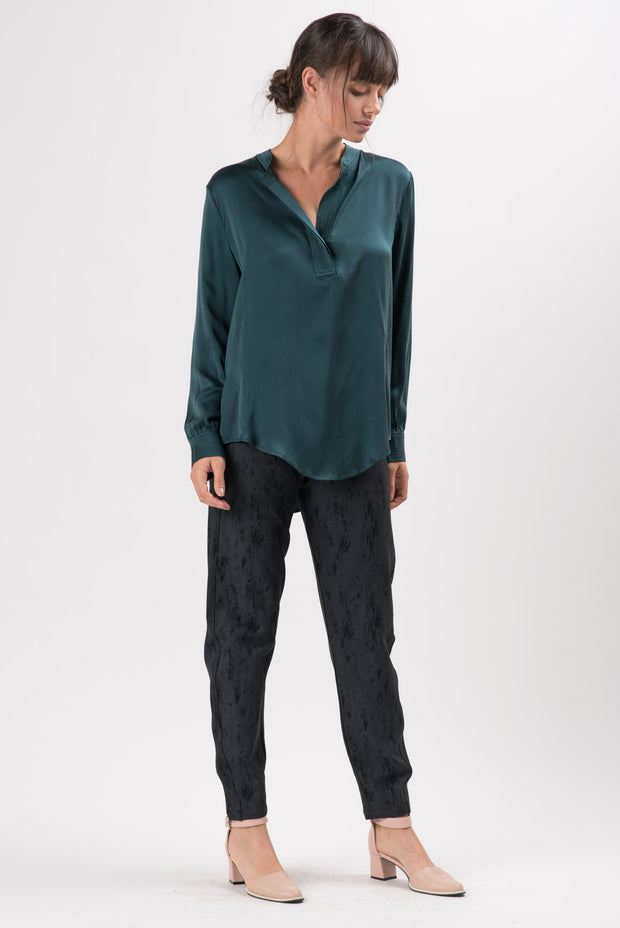 Forest Green Silk Lorelai Long Sleeve Blouse