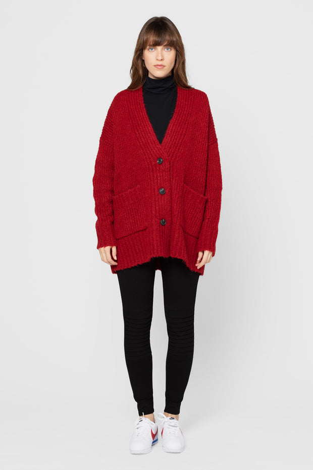 Brick Red Mateo Chunky Knit Cardigan
