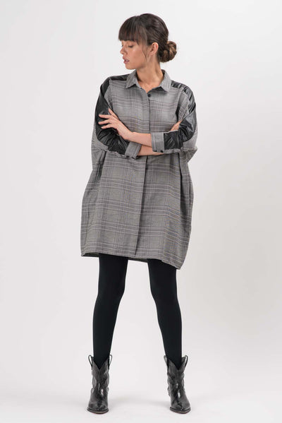 Black and White Plaid Callen Oversized Dress