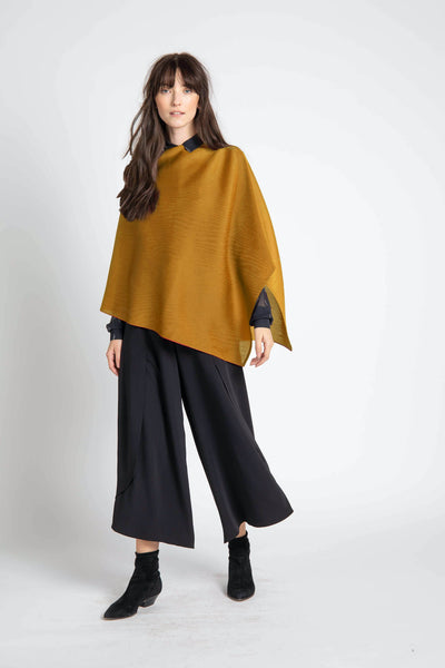 Mustard Noelle Pleated Shawl