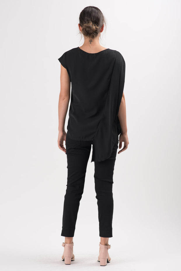 Black Millie Asymmetric Blouse