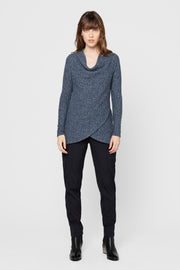 Heathered Navy Fern Cowl Neck Top