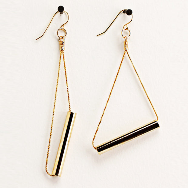 Gold Cylinder Earrings
