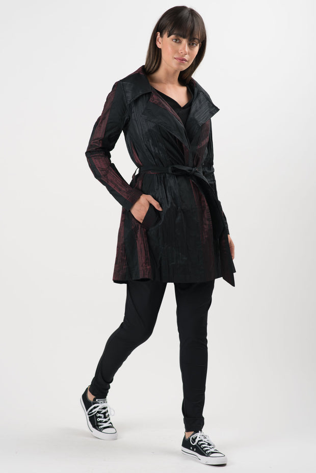 Black and Merlot Striped Landon Coat