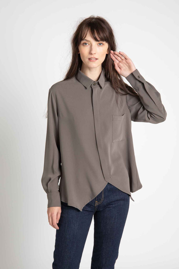 Dark Sage Dale Zippered Top
