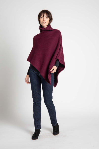 Merlot Knit Melody Turtleneck Poncho
