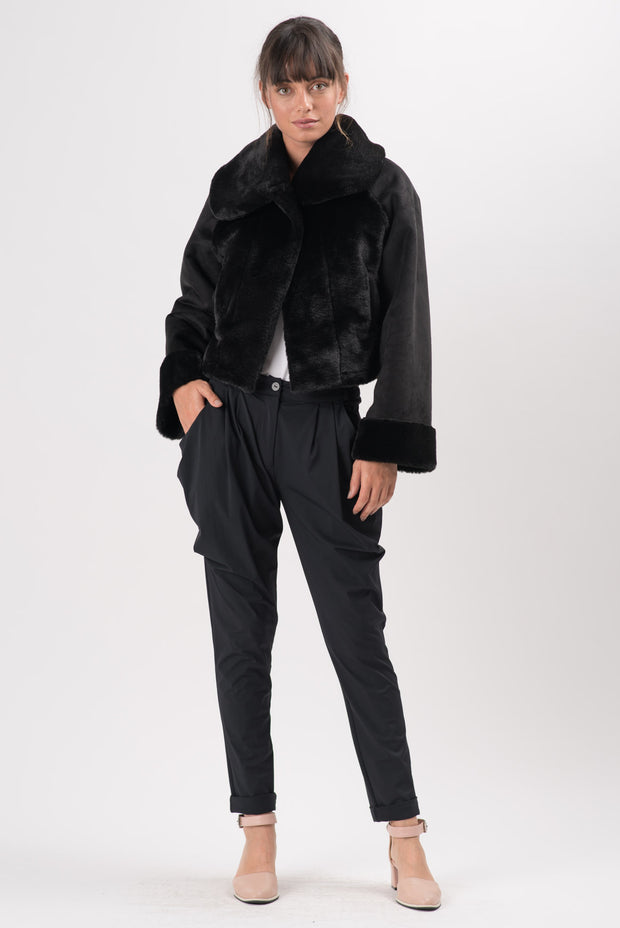 Black Shearling Lysander Short Coat