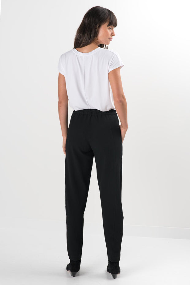 Black Textured Gemini Relaxed Fit Pants