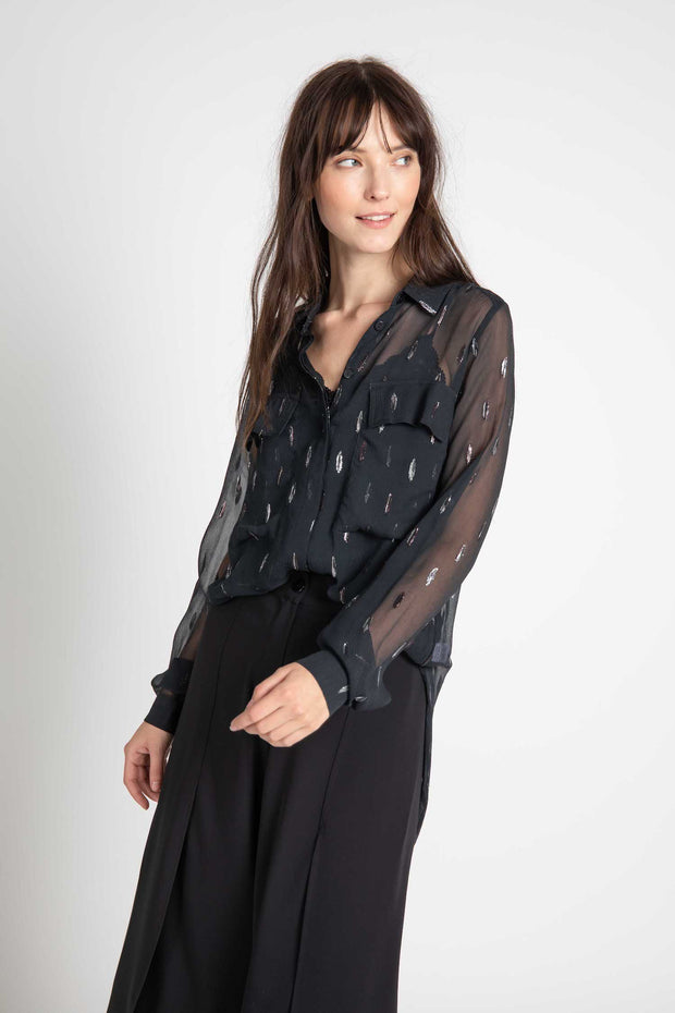 Black Metallic Silk Berlin Button Down Tunic