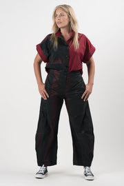 Black and Merlot Striped Jill Relaxed Fit Pants