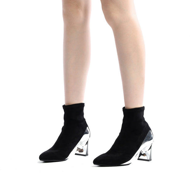 Black Molten Flow Ankle Boot Mid