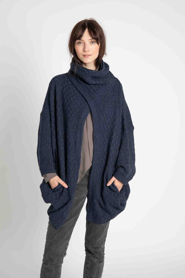 Navy Moon Basketweave Cardigan