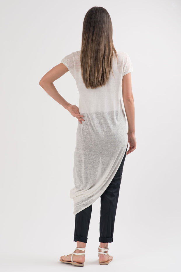 White Knit Geneva Asymmetric Tunic | RUTI