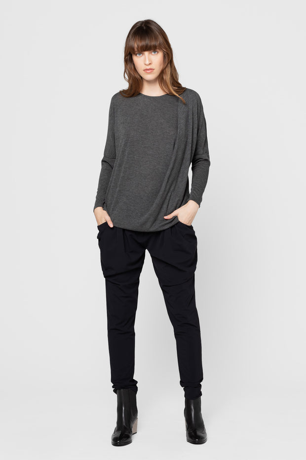 Charcoal Knit Tracy Drape Tunic