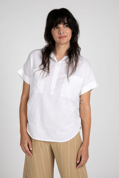 Everett Linen Short Sleeve Top