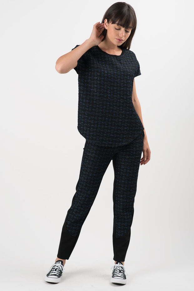 Navy and Black Boucle Dakota Short Sleeve Top