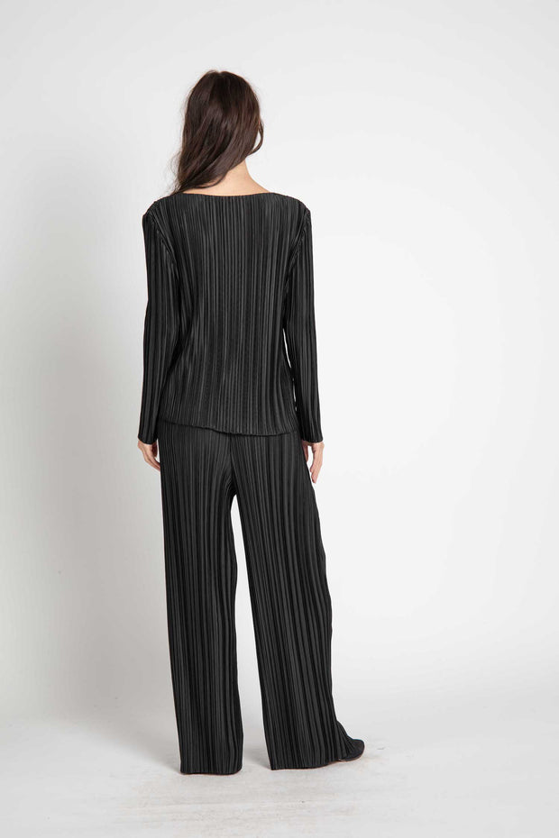 Black Franz Pleated Pants