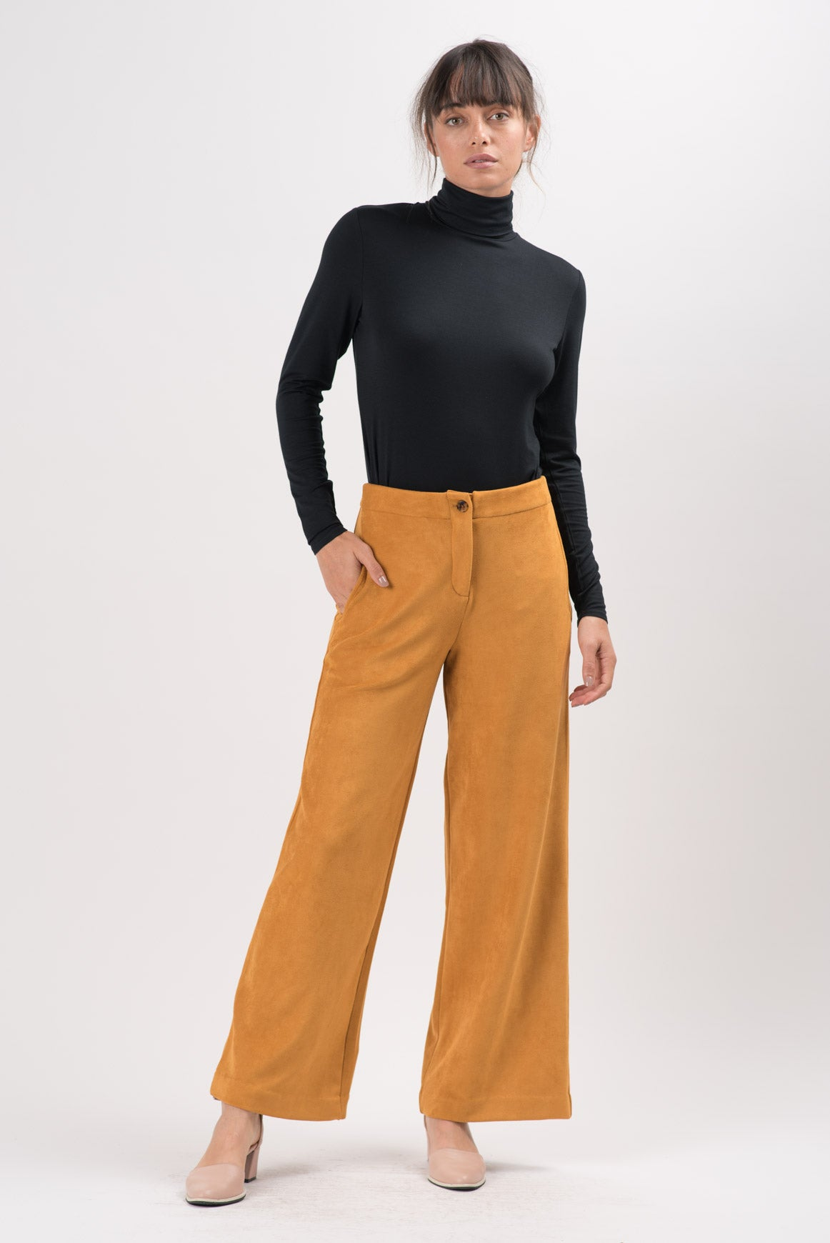 Golden Vegan Suede Claude Wide Leg Pants