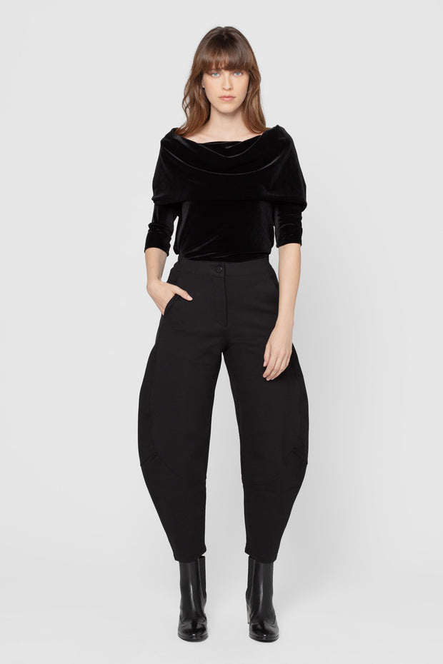 Black Velvet Meyer Off the Shoulder Top
