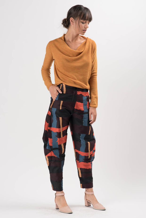 Abstract Jacquard Quartz Wide Leg Pants