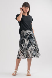 Animal Silk Chiffon Ariel Pleated Skirt