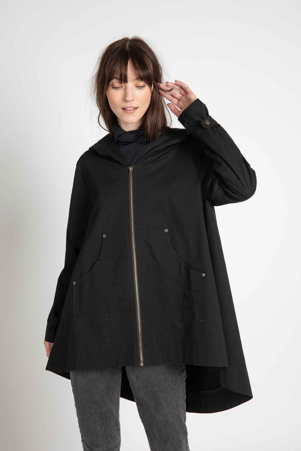 Black Washed Twill Thatcher Coat
