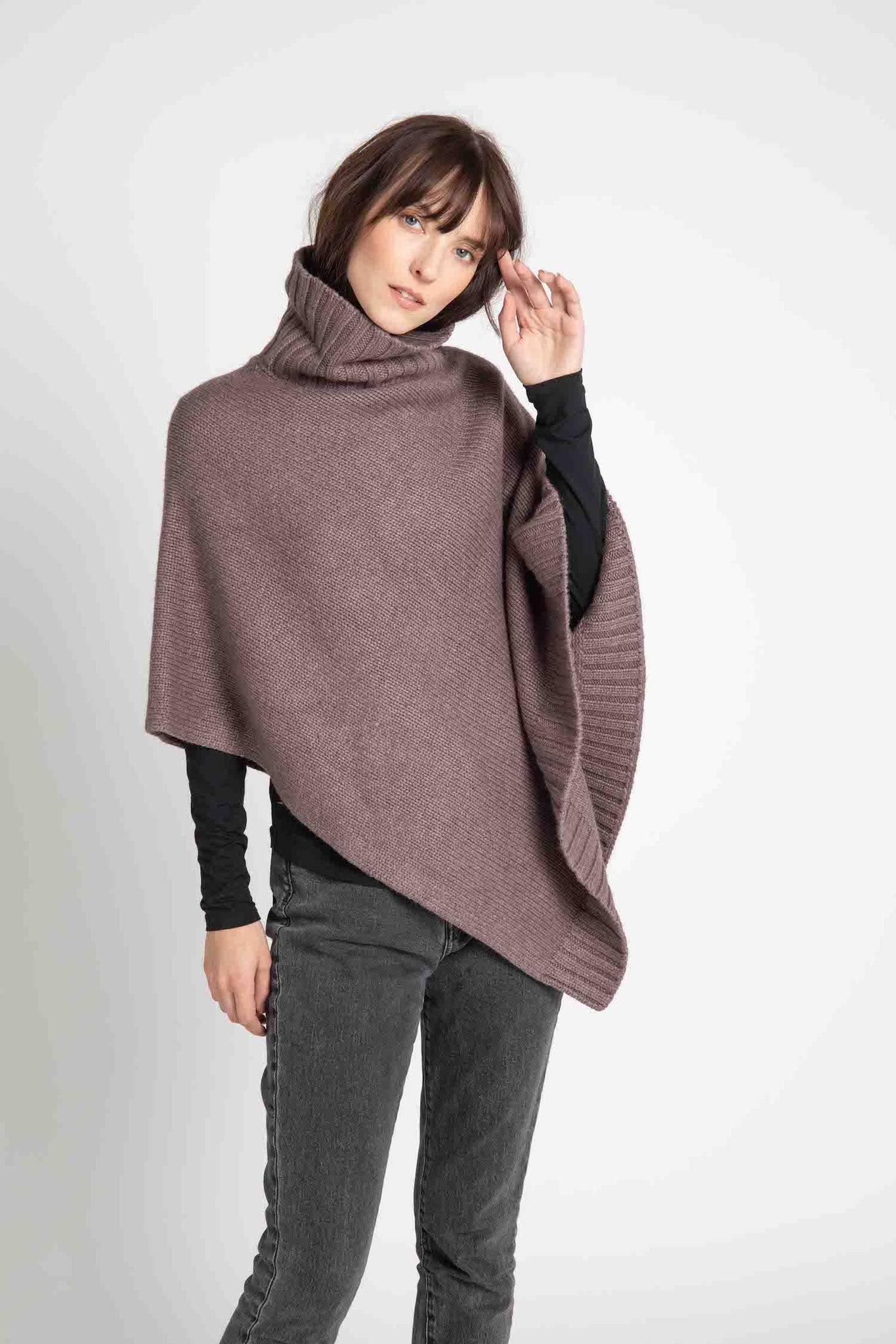 Mink Knit Melody Turtleneck Poncho