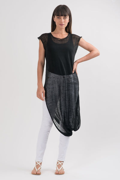 Black Knit Geneva Asymmetric Tunic