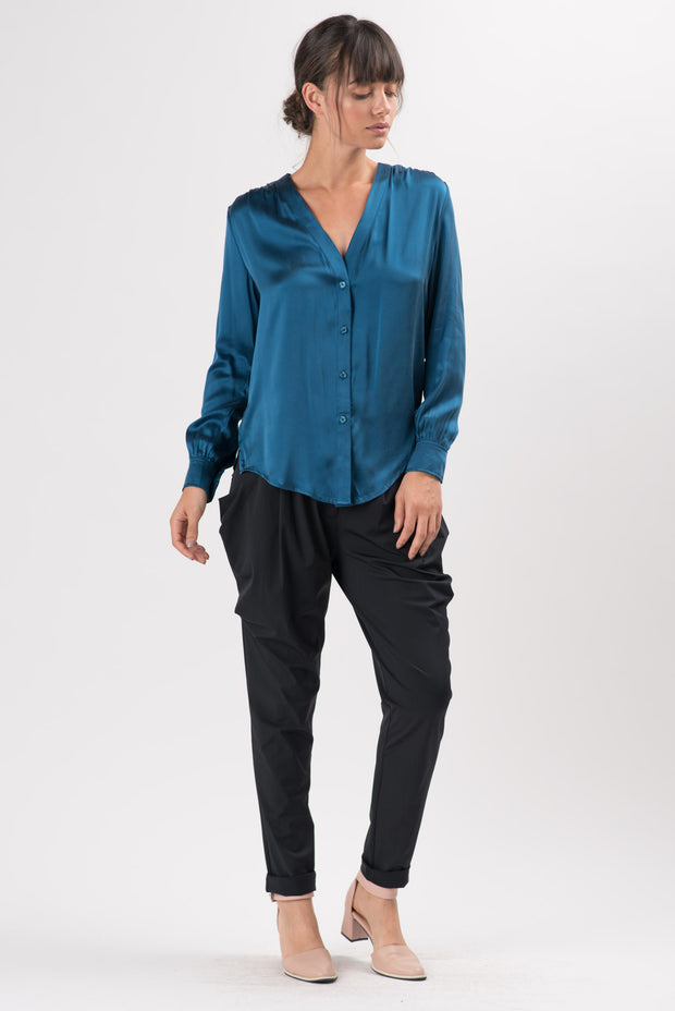 Dark Teal Silk Marcus Button Up Blouse
