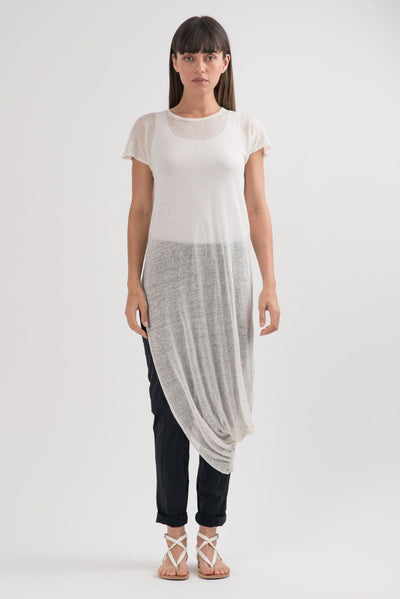 White Knit Geneva Asymmetric Tunic