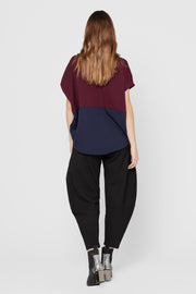 Navy and Purple Brody Colorblock Top
