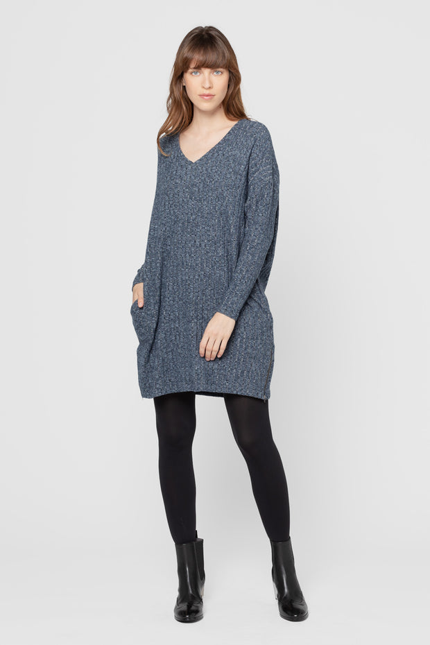 Heathered Navy Ribbed Libra V Neck Dress