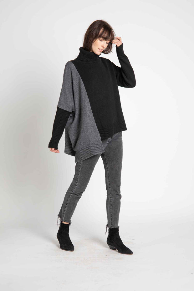 Melbourne Color Block Asymmetric Sweater
