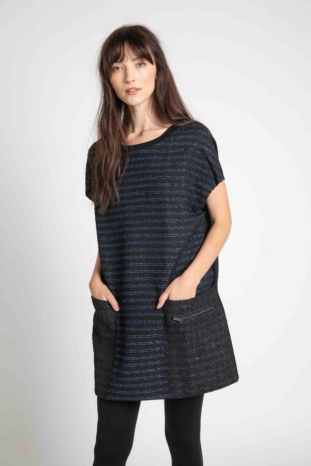 Navy and Black Boucle Pippa Short Dress
