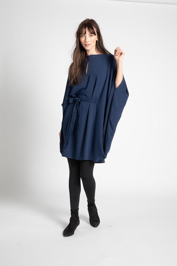 Navy Nancy Tie Waist Dress