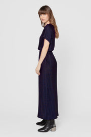 Navy Constance Pleated Maxi Dress